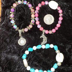 Set of 3 Jasper Charm Bracelets